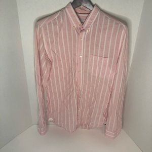 Pink and white striped button down (S)